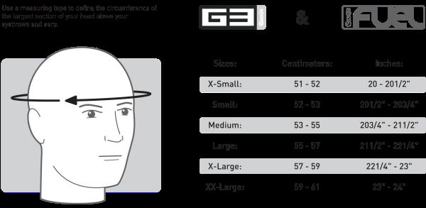 Prilby G3 a Fuel - Veľkostná tabuľka