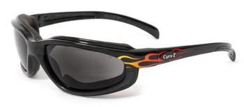 CURV-Z čierne s plameňmi, dymové sklá